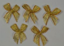 48 pcs METALLIC GOLD TREAD 2.7cm Ribbon Bow